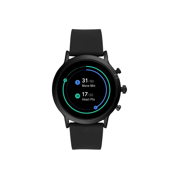 Fossil Gen 5 Carlyle HR - 44 mm - black - smart watch with strap - silicone - black - band size up to 7.87 in - 8 GB - Wi-Fi, NFC, Bluetooth