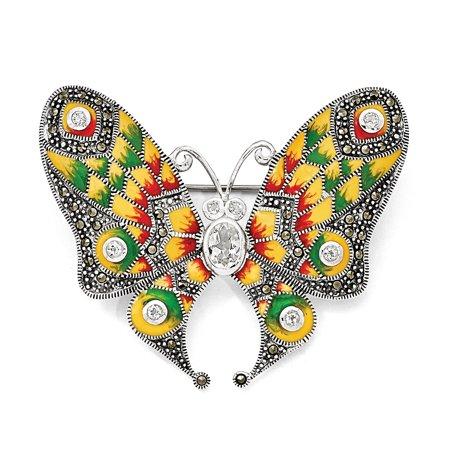 Sterling Silver Marcasite, Enamel & White Topaz Butterfly -