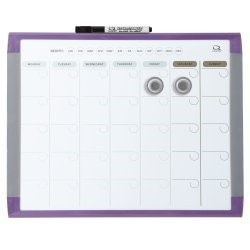 Quartet Magnetic Dry Erase 1-Month Calendar Board, Assorted Frame Colors, 11 x 14 Inch