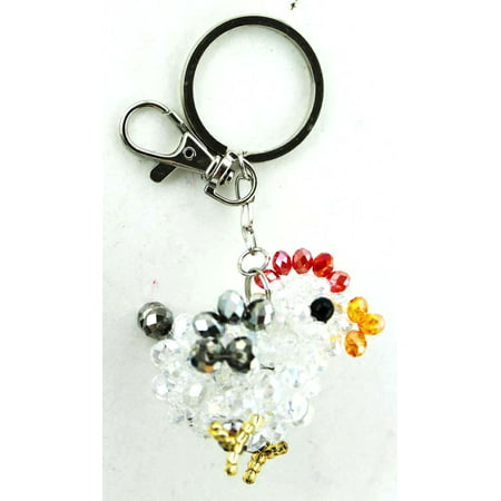 Jewel Bead Wire Baby Chick KeyChain - Farm Animal Chick Key Chain (Grey) - Beaded Keychains