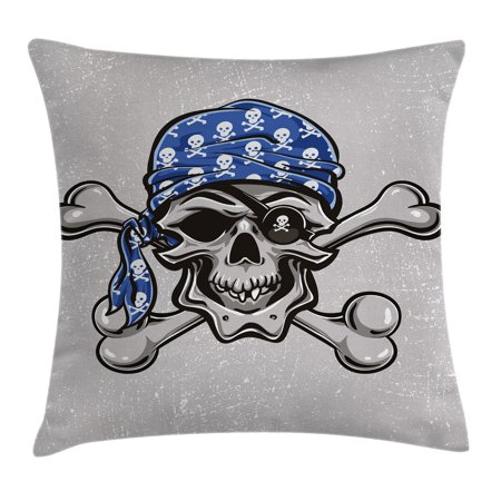 Skull Throw Pillow Cushion Cover, Scallywag Pirate Dead Head Grunge Horror Icon Evil Sailor Crossed Bones Kerchief, Decorative Square Accent Pillow Case, 20 X 20 Inches, Blue Grey Black, by Ambesonne](Pirate Kerchief)
