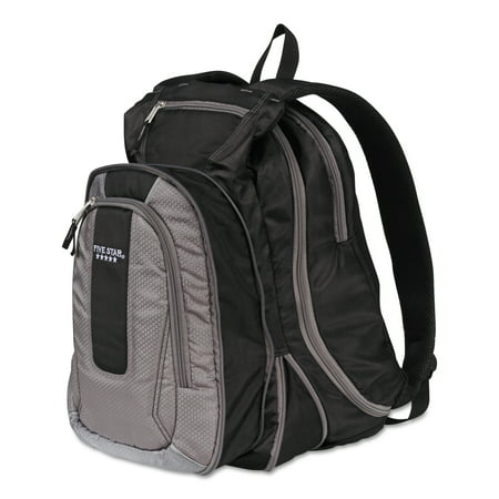 """Five Star Expandable Backpack, 14"""" x 8"""" x 19"""", Gray/Black -MEA73415"""