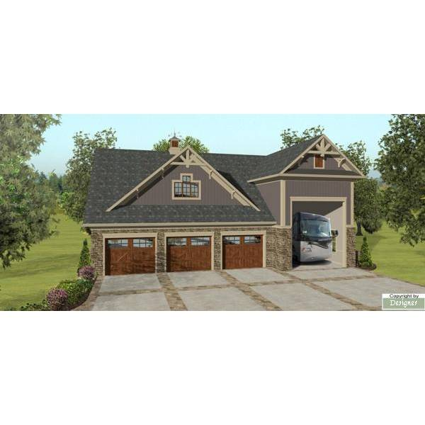 TheHouseDesigners-3328 Country Garage House Plan with Slab Foundation (5 Printed Sets)