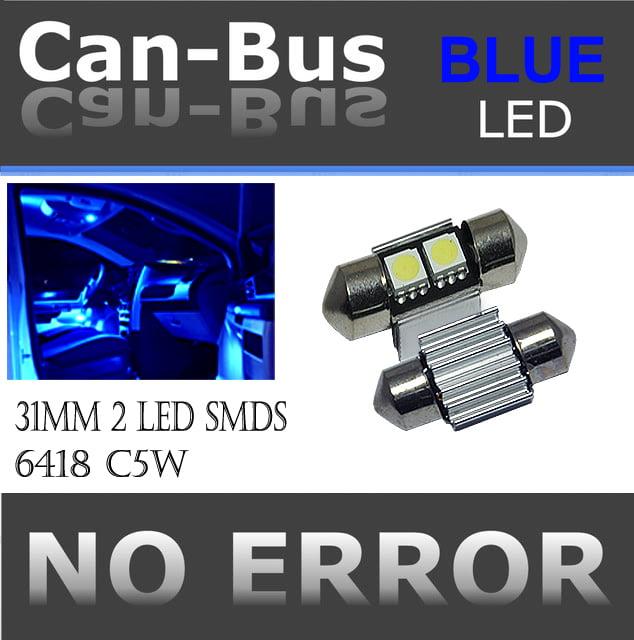Canbus Doom 31 mm 2 LED BLUE COLOR License Plate or Interior Doom Light