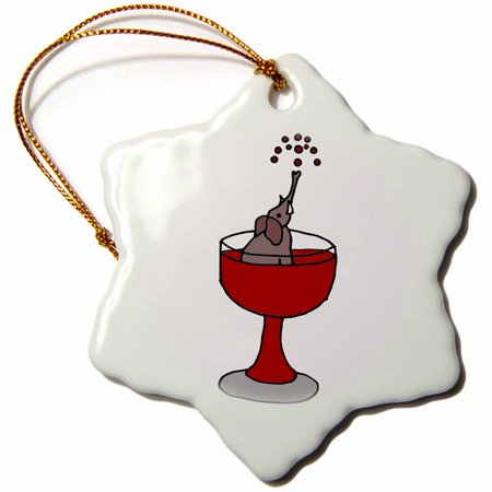 3dRose Funny Elephant in Red Wine Glass , Snowflake Ornament, Porcelain, 3-inch ()