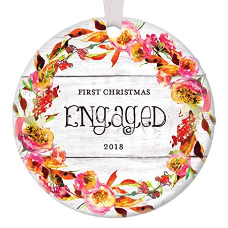 Rustic Engagement Ornament 2019, Our First Christmas Engaged Fiancee Boyfriend Girlfriend 1st Xmas Couple Floral Circle Ceramic Present 3
