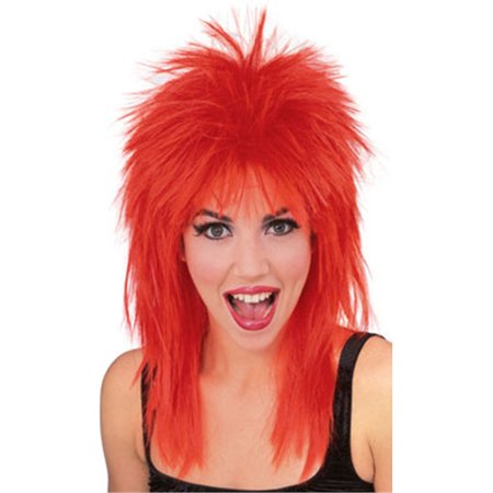 Mens Womens Red Punk 80s Rock Super Star Costume Wig (Men 80s Costumes)