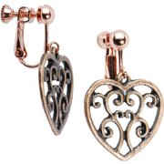 Handcrafted Filigree Hollow Heart Clip On Earrings