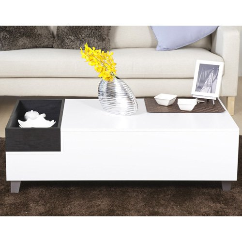 Furniture of America Jade Modern White Coffee Table with Serving Block