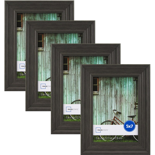 """Mainstays Vintage French 5"""" x 7"""" Picture Frame, Grey, Set of 4 by Uniek"""