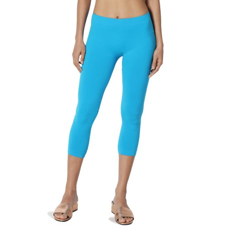 TheMogan Junior's Everyday Seamless Stretch Mid Calf Crop Leggings Layer Capris ()