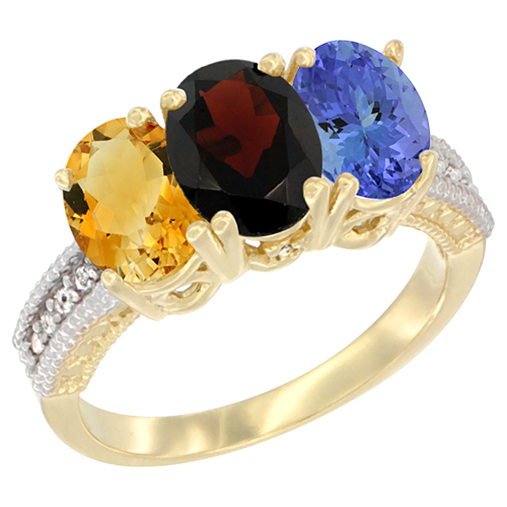 10K Yellow Gold Diamond Natural Citrine, Garnet & Tanzanite Ring 3-Stone 7x5 mm Oval, sizes 5 10 by WorldJewels