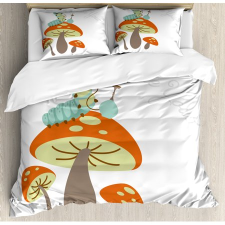 Alice in Wonderland Duvet Cover Set Queen Size, Hookah Smoking Caterpillar Sitting on a Mushroom and Asking Who are You, Decorative 3 Piece Bedding Set with 2 Pillow Shams, Multicolor, by Ambesonne](Alice In Wonderland Queen)