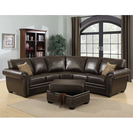 AC Pacific Louis 3 Piece Brown Traditional Living Room Sectional with  Ottoman