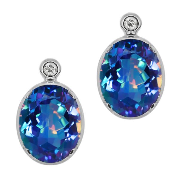 4.62 Ct Oval Millenium Blue Mystic Quartz White Topaz 14K White Gold Earrings