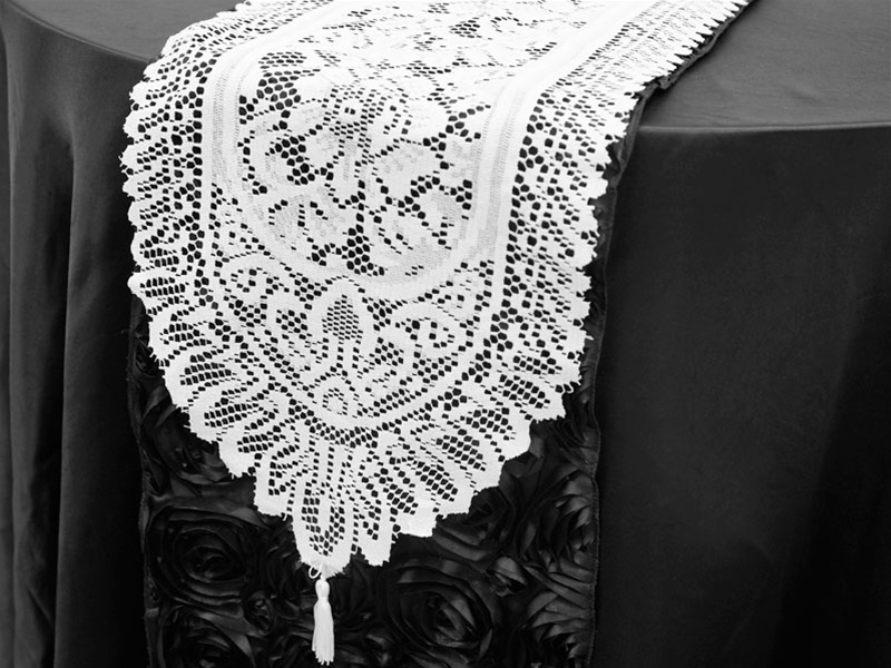 """BalsaCircle 14"""" x 108"""" Lace Table Top Runner Rosettes Wedding Party Reception... by BalsaCircle"""