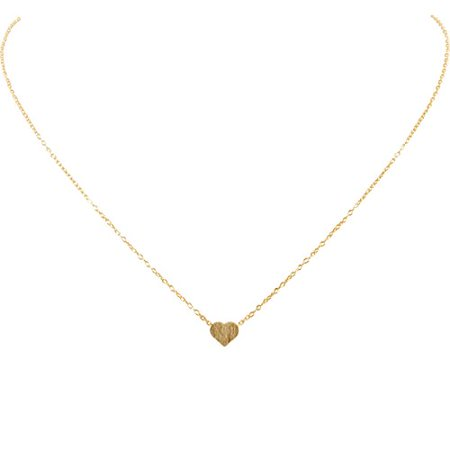 Tiny Heart Necklace - Delicate Dainty Pendant Chain Link Mini Charm, Gold-Tone