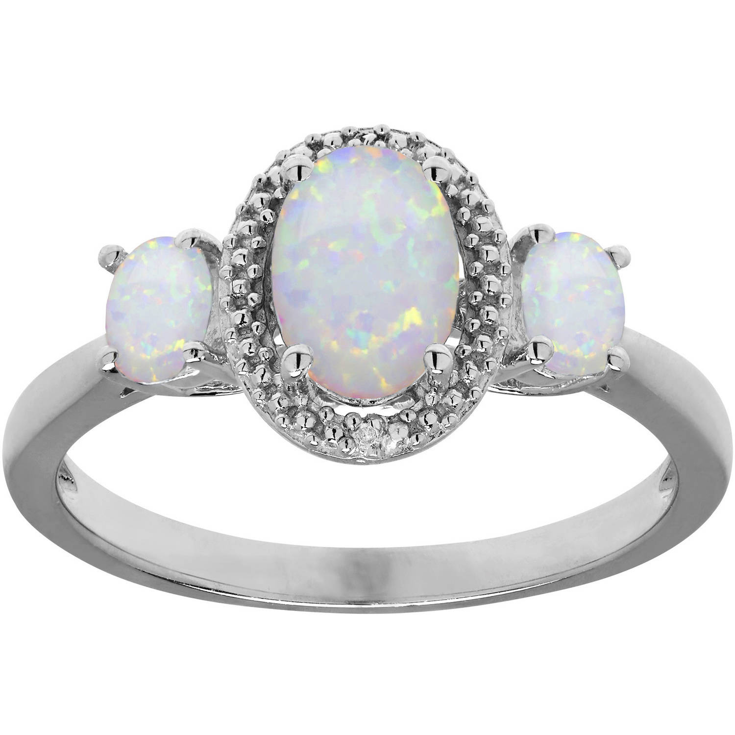 Created Opal and Diamond Accent Sterling Silver Ring, Size 7