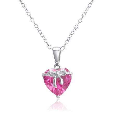 Amanda Rose Collection 4 1 2Ct Created Pink Sapphire Heart Pendant In Sterling Silver