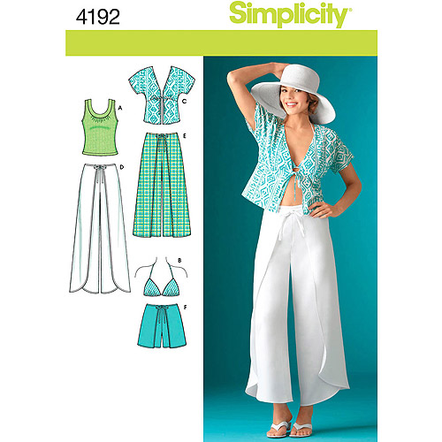 Simplicity Pattern Misses' Wrap Pants or Shorts, (6, 8, 10, 12, 14)