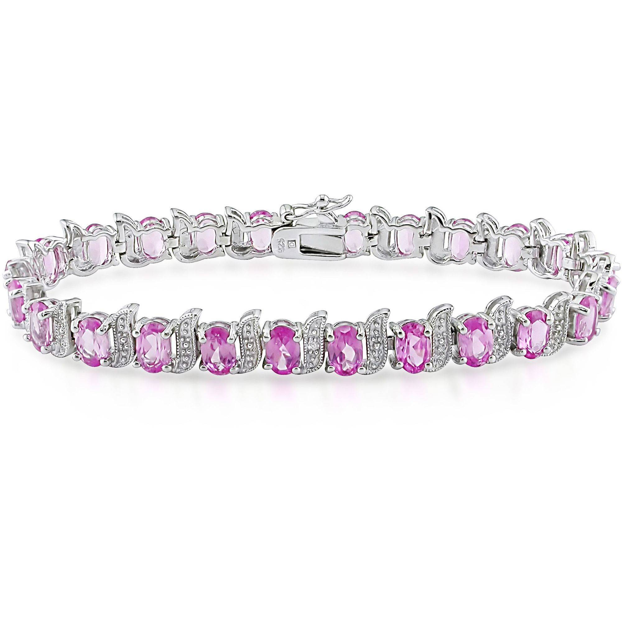 "Tangelo 14-1 2 Carat T.G.W. Created Pink Sapphire and Diamond-Accent Sterling Silver Tennis Bracelet, 7.25"" by Tangelo"
