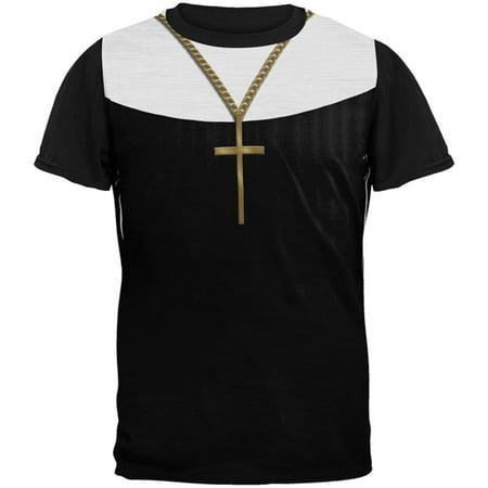 Halloween Nun Habit Costume All Over Mens Black Back T (Nun's Habit Costume)