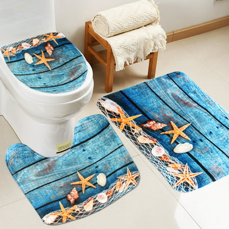 3Pcs Pedestal Rug + Lid Toilet Cover + Non-Slip Bath Mat Doormat Ocean Starfish Bathroom Set Home Decor Christmas Gift - image 8 of 8