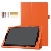 Fire HD 10 7th Gen 2017 Release Tablet Case, Dteck PU Leather Lightweight Full Protective Case With Fold Standing, Orange