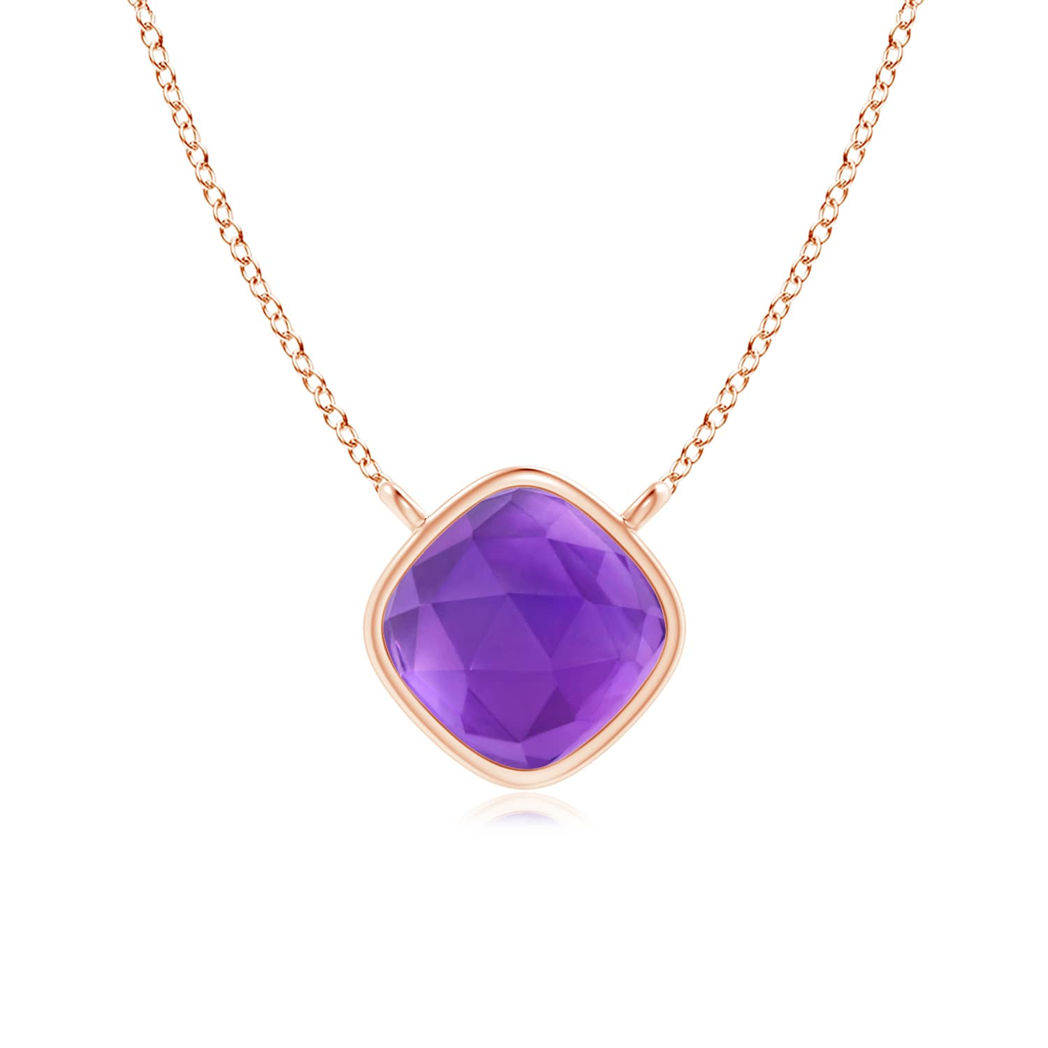 February Birthstone Pendant Necklaces Bezel Set Cushion Amethyst Solitaire Necklace in 14K Rose Gold (5mm Amethyst)... by Angara.com