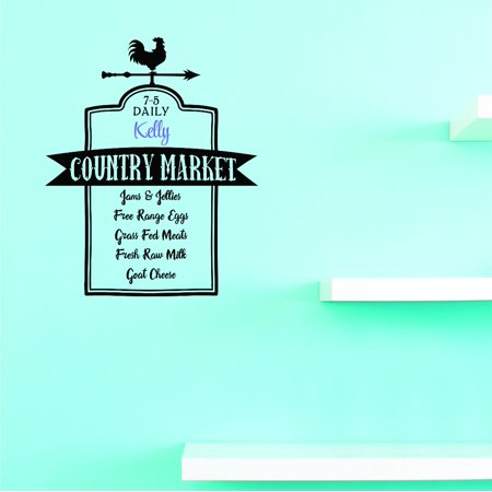 Custom Decals 7-5 Daily Kevin Country Market Jams & Jellies Free Range Eggs Grass Fed Meats Fresh Raw Milk Goat Cheese Wall Art Size: 10 Inches x 20 Inches