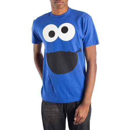 Sesame Street Men's blue heather big face short sleeve tee