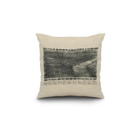 Middletown, Connecticut - Panoramic Map (18x18 Spun Polyester Pillow, Custom Border)