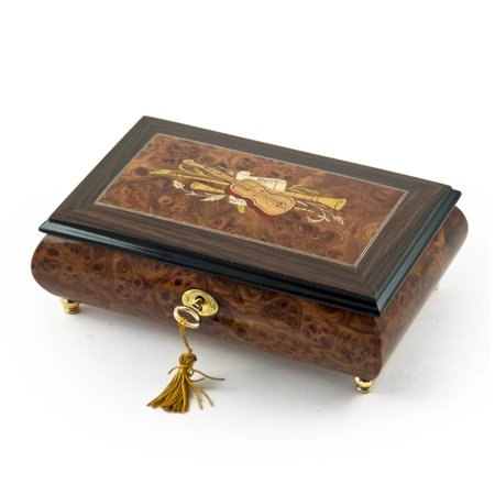 Timeless 36 Note Handcrafted Musical Theme Wood Inlay Jewelry Box Vienna Life Roses From The South
