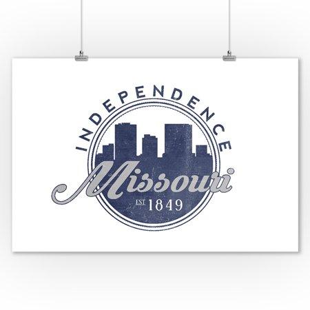 Independence, Missouri - Skyline Seal (Blue) - Lantern Press Artwork (9x12 Art Print, Wall Decor Travel (Independence Center Missouri)