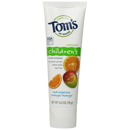 Tom's of Maine Natural Children's Fluoride Toothpaste, Outrageous Orange Mango, 4.2 Ounce, Tom's of Maine, Natural Toothpaste for Children, Orange.., By Toms of Maine From USA (Toms Kids Orange)
