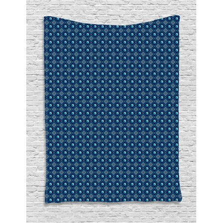 Yin Yang Tapestry, Traditional Asian Spiritual Pattern with Geometric Squares Spirals, Wall Hanging for Bedroom Living Room Dorm Decor, 40W X 60L Inches, Navy Blue Pale Green Blue, by (Square Traditional Wall)