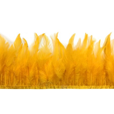 1 Yard - Gold Rooster Neck Hackle Feather - Feather Trim Wholesale