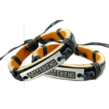 Two Piece Best Friend Bracelet Dark Brown with Black Cord Leather Friendship Bracelets Set J-210 for $<!---->