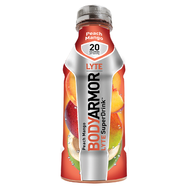 Body Armor Lyte Peach Mango Sports Drink 16 oz Plastic Bottles - Pack of 12