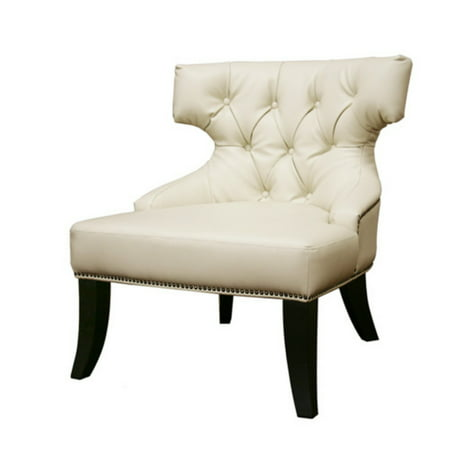 Taft Off White Leather Club Chair