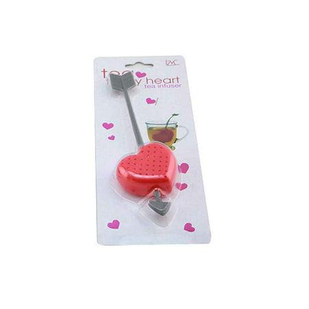 Mini Red Plastic Love Heart Shaped Tea Infuser Loose Tea Leaf Strainer Herbal Spice Filter