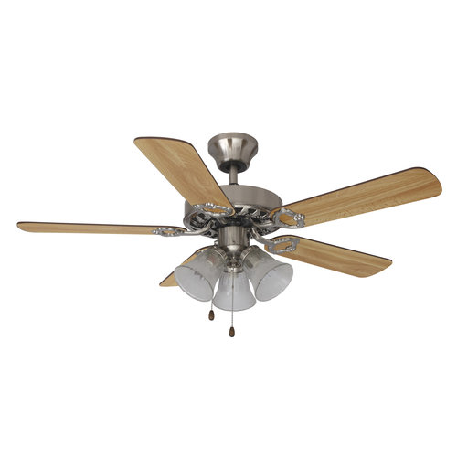"Mainstays 42"" Ceiling Fan with Light Kit, Satin Nickel  17777"
