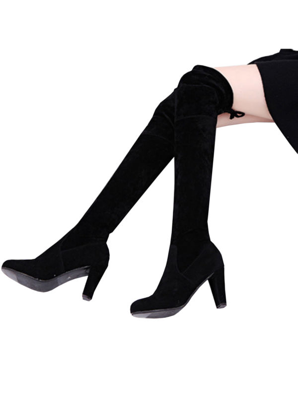 Womens Thigh High Boots Over The Knee Party Stretch High Block High Heel Booties