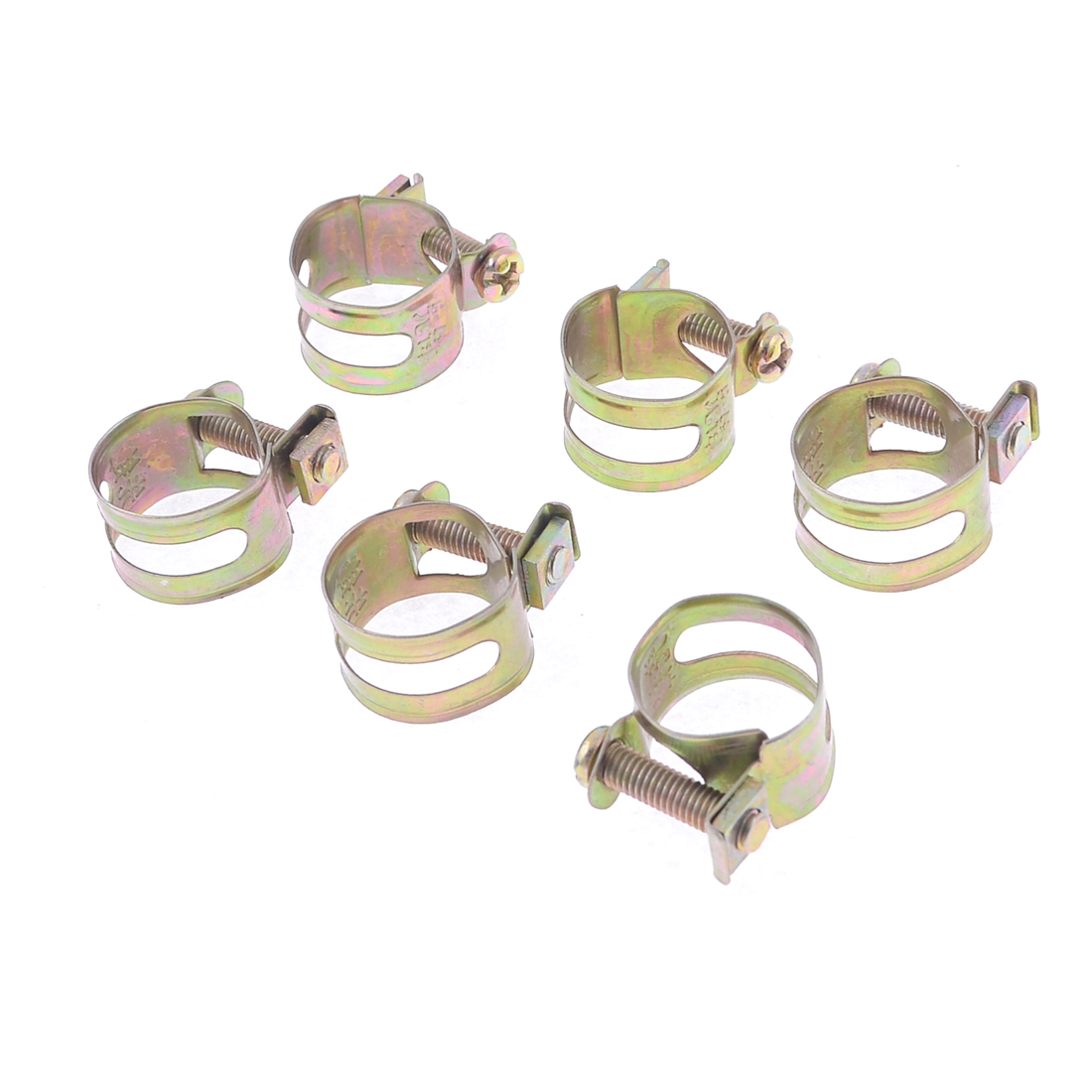 Unique Bargains Screw Tighten Design Water Pipe Hose Band Clamps 6 Pcs