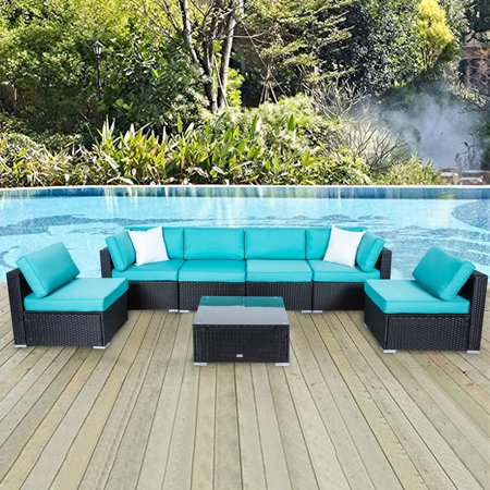 Kinbor 7pcs Outdoor Patio Furniture Sectional Pe Wicker Rattan Sofa Set ()