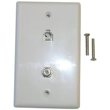 Combo Phone/Video Jack, White Black Point Wall Plates BT-063 White 014759002345
