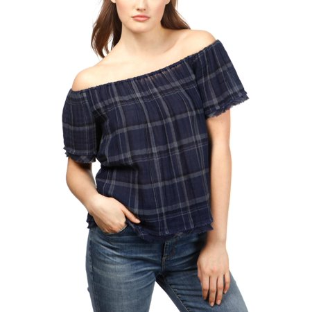 Lucky Brand Womens Plaid Off-The-Shoulder Casual Top