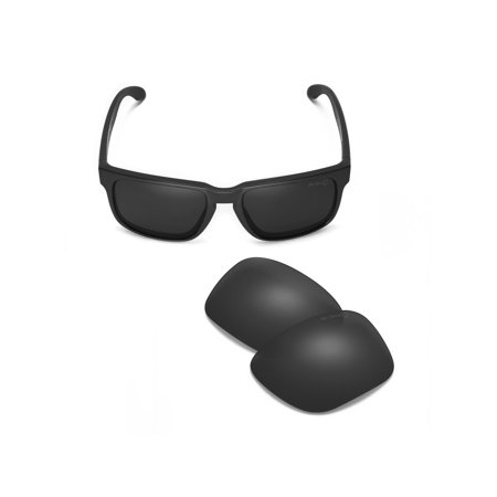 Walleva Black Mr. Shield Polarized Replacement Lenses for Oakley Holbrook (Polarized Holbrook Lenses)