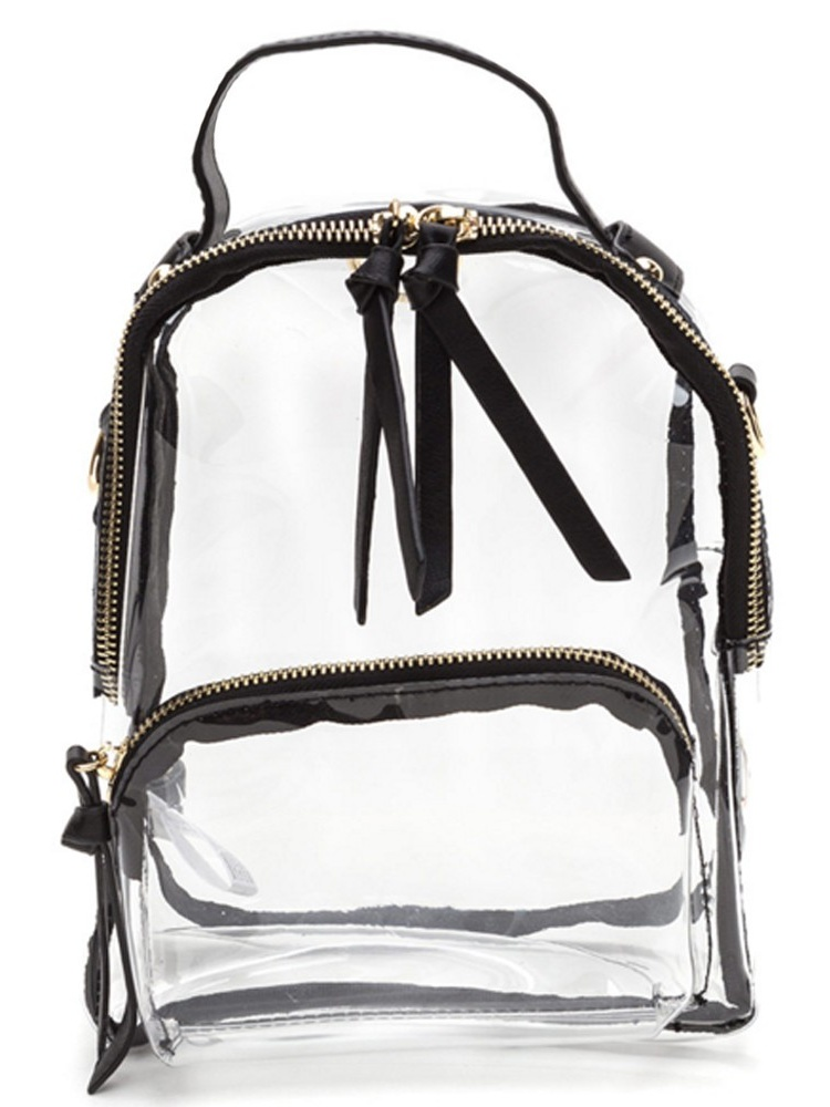 Girls Black Strap Zip Transparent Mini Backpack 10(W) X 5(D) X 12.5(H) inch by LE CHIC