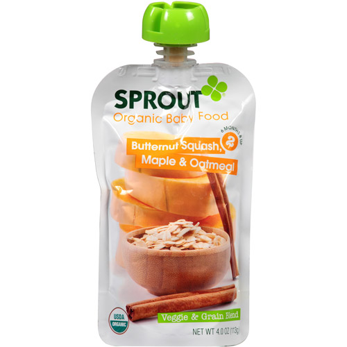 Sprout Organic Veggie & Grain Blend Butternut Squash, Maple & Oatmeal Baby Food, 4.0 oz, (Pack of 10)